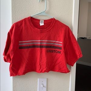 CUSTOM CROPPED RED SHIRT